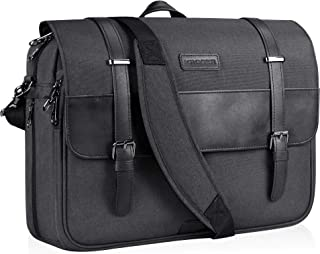 KROSER Laptop Messenger Bag 15.6 inch Laptop Bag Water-Repellent Briefcase Stylish Flapover Computer Case Shoulder Bag for School/Business/Women/Men-Charcoal Black