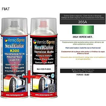 Kit Vernice Auto Spray 355A VERDE MET. e Trasparente Lucido Spray