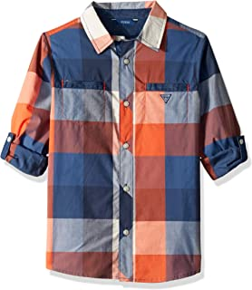 GUESS Boys' Big Roll Up Sleeve Checkered Graphic Button Down