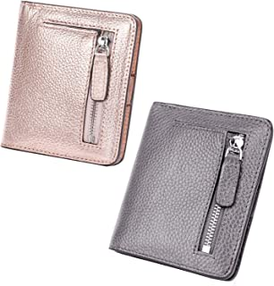 AINIMOER Women Leather Wallet RFID Blocking Small Mini Bifold Zipper Pocket Card Case Champaign Gold and Gray Bundle