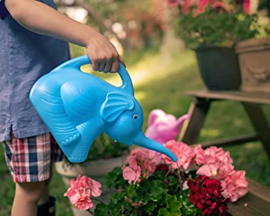 Grow Margo Set of 2 Elephant Watering Cans, Kids Novelty Animal Watering Cans in Pink and Blue, Long Spout, 1/2 Gallon Capaci