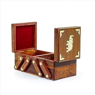 Fold-able Brass Inlaid Beautiful Rosewood Handmade Sliding Storage Box | Trivial & Jewelry Storage Box