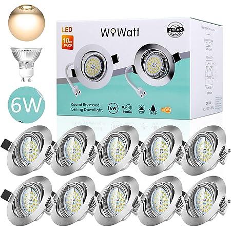 10 X Spot Encastrable LED, Wowatt Spot LED Encastrable GU10 6W Equivaut 50W Ampoule Halogène Spot de Plafond 2800K Blanc Chaud 220V Spot Encastré LED 40° Orientable 120° d'Éclairage Non Dimmable