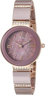 Anne Klein Women's AK/3340MVRG Swarovski Crystal Accented Rose Gold-Tone and Mauve Ceramic Bracelet Watch
