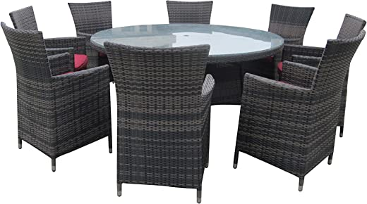 B01AHOQC4G✅9 Piece Wicker Dining Sets Wicker Patio Furniture Red