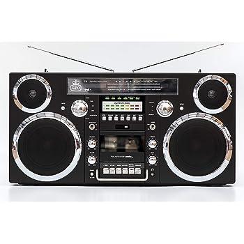 GPO Brooklyn 1980S-Style Portable Boombox - CD Player, Cassette Player, FM & DAB+ Radio, USB, Wireless Bluetooth Speaker - Black