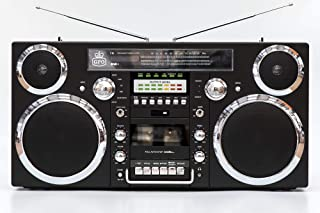 GPO Retro BROOKLYN - Boombox Portable 1980s Retro-Style Music System with CD, Cassette (Playback and Recording), FM and DA...