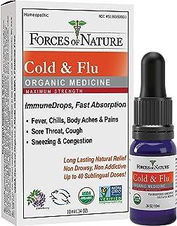 Forces of Nature, Natural and Organic Cold Maximum Strength (10ml), Non Drowsy, Non Addictive, Non GMO, Relief Chills, Body Aches, Congestion