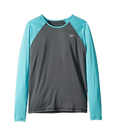 Speedo Kids Long Sleeve Rashguard (Big Kids) (Asphalt) Girl