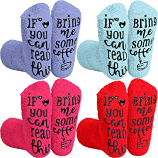 SATINIOR, 4 Pares de Calcetines de If You Can Read This Bring Me Some Coffee Calcetines de Colores Variados con Palabras Divertidas para Regalo de Día de Madre Familia Cumpleaños Navidad