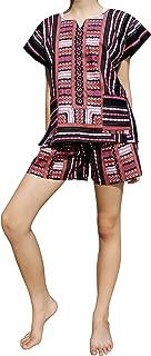 Raan Pah Muang Childrens Unisex Afrikan Dashiki Juego de pantalón Corto y Camisa Parche algodón