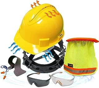 KwikSafety (Charlotte, NC) TURTLE SHELL COMBO (10 Vents) Standard Cap ANSI Hard Hat, Safety Glasses, Sunshade, Sweatbands & Earplugs Construction Work PPE, Type1, Class C, YELLOW