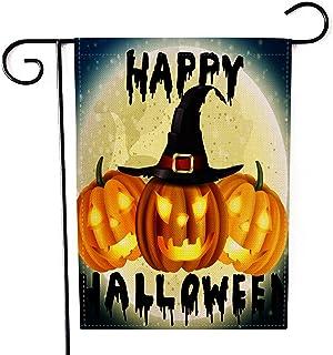 "Fiuqaomy Happy Halloween Magic Pumpkin Garden Flag Vertical Double Sized, Holiday Burlap Yard Outdoor Decoration 12.6"" 18.5"""