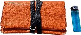 Astuccio porta tabacco custodia grande in vera pelle pregiata e riciclata bicolor col. Arancione e Nero fatto a mano in It...