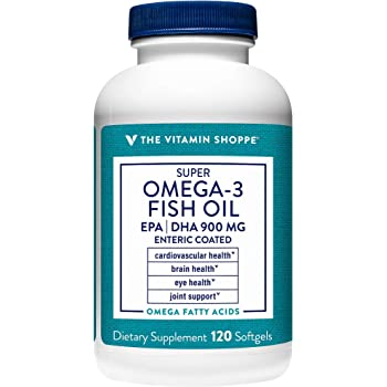 The Vitamin Shoppe Omega 3 Fish Oil 1290mg, EPA 735mg DHA 165mg, Purity Assured, Molecularly Distilled to Support Cardiovascular, Joint and Brain Health (120 Softgels)