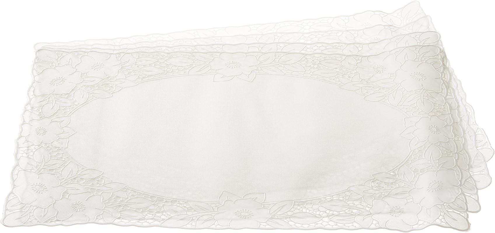 Violet Linen Vinyl Lace Embossed Floral Design Oblong Placemats Cream