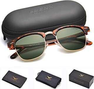 Men Semi Rimless Polarized Sunglasses Women UV 400 Protection 51MM,by LUENX with Case
