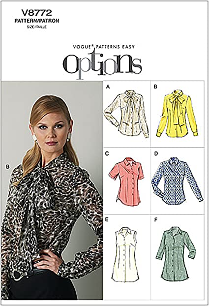 VOGUE PATTERNS V8772 - Patrones de Costura para Blusas de Mujer (Talla E5: 44-52)