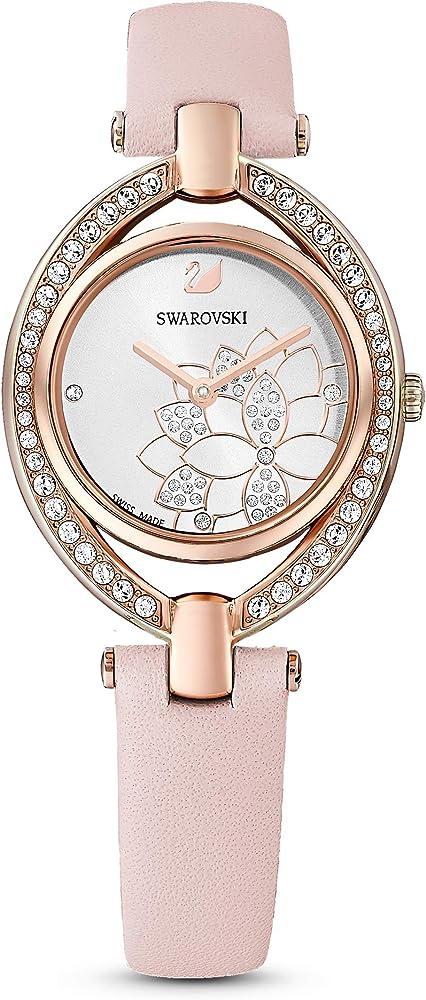 Swarovski stella orologio da donna cinturino in pelle, grigio, pvd oro rosa 5452507