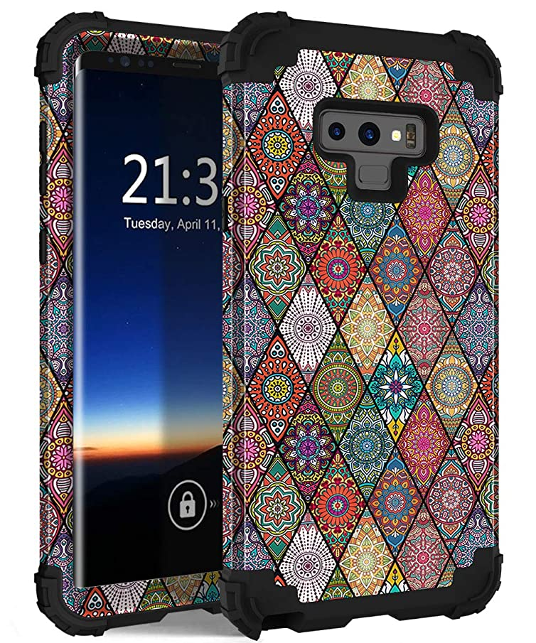 Galaxy Note 9 Case, Hocase Shockproof Heavy Duty Protection Hard Plastic Cover+Silicone Rubber Case Dual Layer Protective Phone Case for Samsung Galaxy Note 9 (2018) SM-N960 - Mandala Flowers/Black