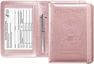 ACdream Passport and Vaccine Card Holder Combo, Cover Case with CDC Vaccination Card Slot, Leather Travel Documents Organi...