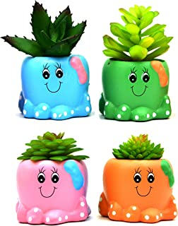 MONMOB Pack of 4 Mini Shaped Planter Ceramic Succulent Plant Pots Set Small for Small Succulent (Baby Octopus)