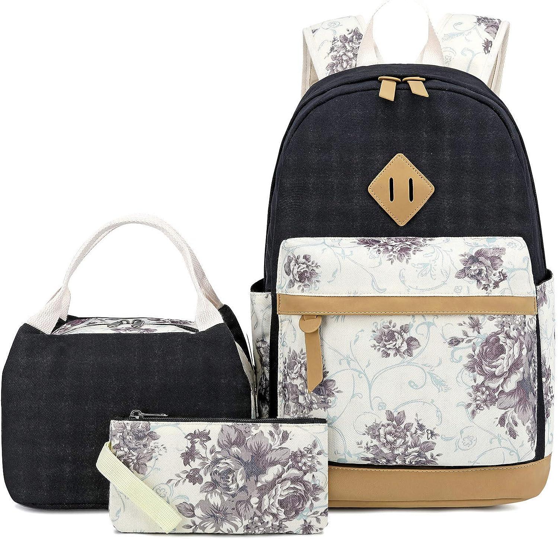 Pawsky Canvas School backpack Set Lightweight Teen Girls Women K