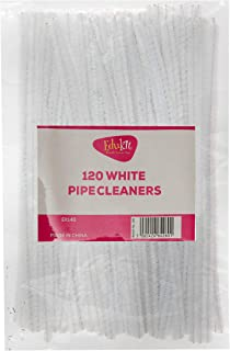 Edukit Pack of 120 White Craft Multi-Purpose Wire Pipe Cleaners 15cm x 4mm.