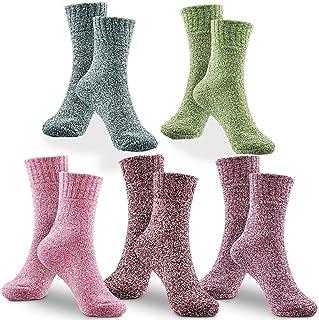 BETOY, Lana Mujer Calcetines, BETOY 5 Pares Calcetines de lana Calcetines Termicos Mujer Premium Calidad Calcetines Acogedores de Invierno Vintage