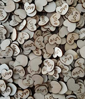 Satomoto 500pcs Wooden Hearts Love Wood Table Confetti for Rustic Wedding Table Scatter Decor and DIY Crafts