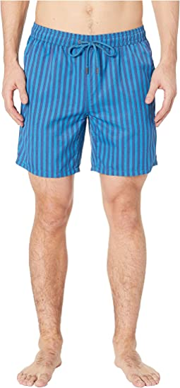 Cabana Stripe Printed Swim Trunks
