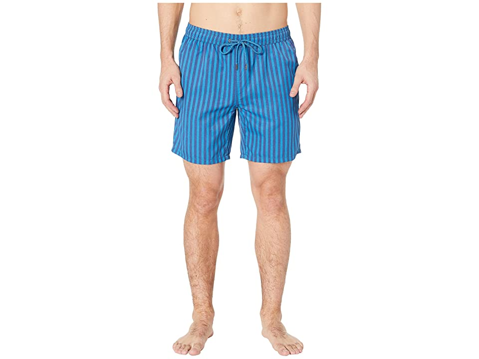 Mr. Swim Cabana Stripe Printed Swim Trunks (Navy/Royal) Men