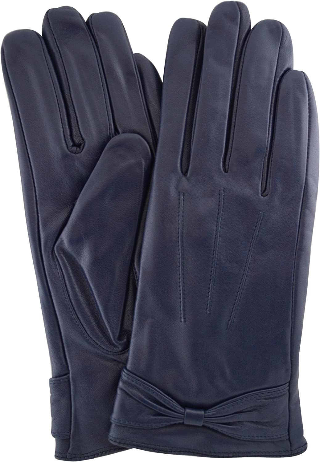 SNUGRUGS Ladies Butter Soft Preminum Leather Glove with bow & 3 Point Stitch design