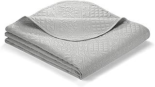 Ibena Nancy Tagesdecke 140x210 cm - Bettüberwurf hellgrau, leichte Decke mit Steppmuster