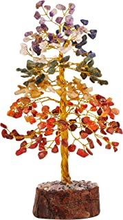 PREK Seven Chakra Natural Crystal Gemstone Bonsai Christmas Money Tree with Golden Wire and 300 Beads Size 10 Inches for R...