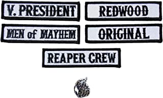 Officer Title Rank Vest Patches V President MC Biker Club Patch Set (6pc-Iron On with Reaper Pin)