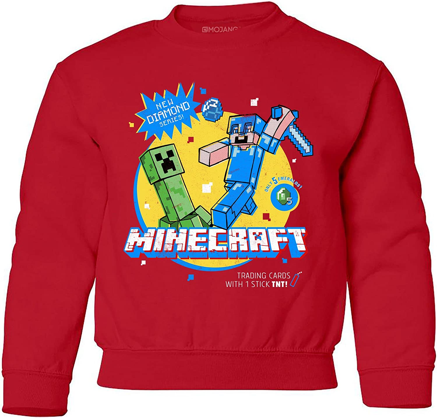 JINX Minecraft Super Sketchy Creeper Boys Crew Neck Sweatshirt