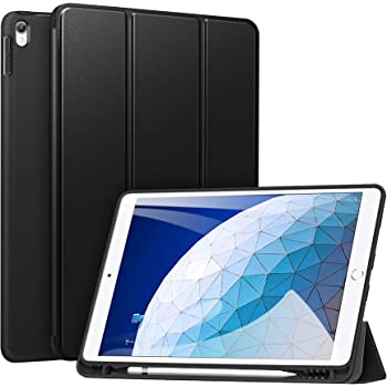 """ZtotopCase for iPad Air 10.5"""" (3rd Gen) 2019/iPad Pro 10.5"""" 2017 with Pencil Holder, Ultra Slim Soft TPU Back and Trifold Stand Cover with Auto Sleep/Wake Full Body Protective Smart Case, Black"""
