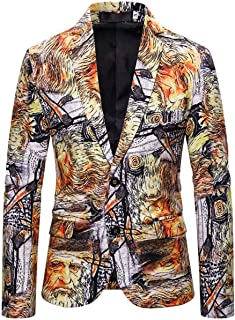 Men's Slim Fit Two Buttons Printed Suit Jacket Peak Lapel Prom Party Tuxedos Blazer Performance Coat Spring Winter Wear
