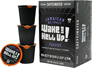 Wake The Hell Up! Jamaican Me Crazy Flavored K-Cup Single Serve Capsules Ultra-Caffeinated Coffee For K-Cup Brewers | 12 Count, 2.0 Compatible Pods | Perfect Balance of High Caffeine & Great Flavor.