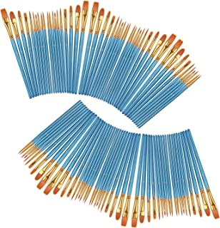 heartybay Professional Paints Brushes Set 10 Pcs, Nylon Hair Brush Sets Acrylic Blue Round Pointed Paint Bristle for Watercolor Oil Painting & Gouache Art, Perfect for Kids, Beginner and Artist