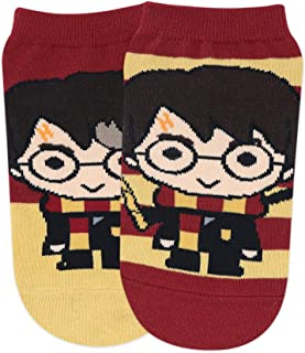 Balenzia x Harry Potter Chibi Stripes & Colour Block Lowcut Socks for Women (Pack of 2)- Red & Yellow