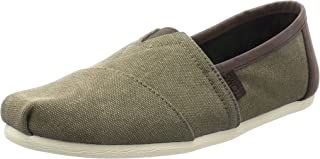 Men's Classic Washed Canvas Olive Trim Ankle-High Slip-On Shoes - 9.5M