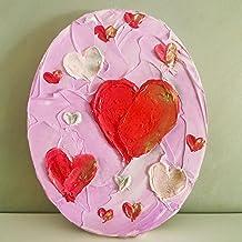 لوحة ديكور على شكل قلب مقاس 25 × 20 سم، مرسومة باليد، لوحة فنية جدارية لطيفة مناسبة لغرفة الأطفال وغرفة النوم وغرفة الأطفا...