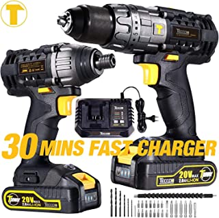 Impact Driver and Hammer Drill, 20V Cordless Combo Kits, 2X2.0Ah Li-Ion Batteries, 30-Min Quick Charger, 32pcs Accessories, Variable Speed, Tool Bag Included TECCPO TDCK01P
