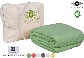 HILLFAIR 100% Certified Organic Cotton Winter Blankets- Twin Size Bed Blankets- All Season Cotton Blanket- Organic Cotton Bed Blankets - Soft Cozy Multipurpose Twin Blankets- Sage Twin Size Blanket