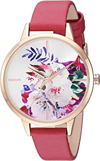 Nine West Women's Gold-Tone and Pink Strap Watch