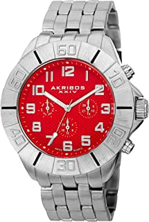 Akribos XXIV Multifunction Men's Watch - 3 Subdials Day, Date and GMT - Large Clear Arabic Numerals On Stainless Steel Bracelet - AK767