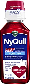 Vicks NyQuil, Cough, Cold & Flu Relief for High Blood Pressure, Sore Throat, Fever, and Cough Relief, Decongestant Free, 1...