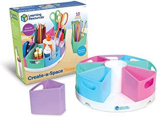 Learning Resources Create-a-Space Storage Center - Pastel, Homeschool Storage, Nursery Organizer, Fits 3oz Hand Sanitizer ...